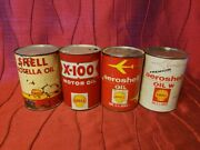4 Vintage Shell Oil Cans Rotella Full Metal 10w, X-100 Empty Metal Sae 30w, Red