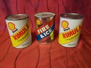 3 Vintage 1qt Shell Oil Cans Rumulla Sae 30 Full Cardboard, Fire And Ice Bank Emp