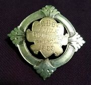 Hhh 1 Mile Championship 1st 1899 Badge Signed Collins Sterling Silver And Gf