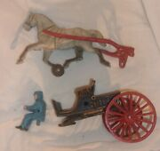 Vintage Cast Iron Horse And Wagon For Parts Looks Good Maybe Reproduction