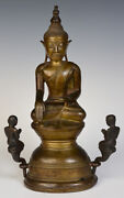 18th Century Shan Antique Burmese Bronze Seated Buddha And Disciples