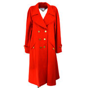94a 38 Cc Button Long Sleeve Jacket Coat Red Cashmere Auth 02159