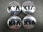 Set Of 4 Oem Kia Polished And Black Center Caps 52960-3w200 52960-2t500 59mm