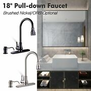 Kitchen Sink Faucet Single Handle Pull Down Sprayer And Soap Dispenser Deck Mount