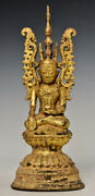 Late 18th Century Late Shan Antique Burmese Bronze Seated Crowned Buddha