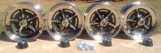 Buick Riviera/full Size Rally Chrome Wheel Set W/ New Center Caps And Lug Nuts