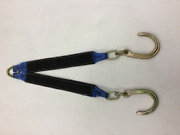 3x30 Blue / Black Towing V-bridle Strap With Sleeves And 8 Forged J-hooks
