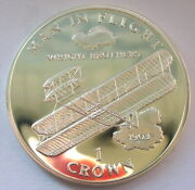 Isle Of Man 1995 Wright Brothersand039 Airplane Crown Silver Coinproof