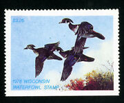 Us Duck Wisconsin Stamps 1 Vf Lh Scott Value 65.00