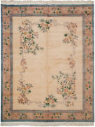 Rra 8x10 Chinese 120-line Peking Floral Design Ivory And Peach Rug 12436
