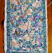 Antique Chinese Silk Embroidered Pink Butterflies Skirt Panel 9 By 17 Inches