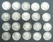 1916 - 1937 5c Indian Head Buffalo Nickel Set Lot Total Of 20 Coins