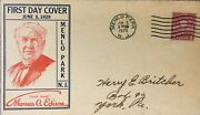 First Day Cover Menlo Park Nj Thomas A. Edison 1929 New Jersey-2 Cent Stamp