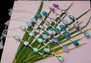 New 100 Pcs Lot Au Opal Opalite Turquoise Mix 925 Silver Plated 18 Necklace N-7