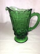 """Rare Emerald Green All Seeing Eye Depression Glass Pitcher Show Stopper 8"""" Tall"""