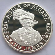 Turks Caicos 2001 King James I 20 Crowns 1oz Silver Coinproof