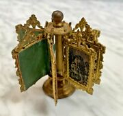 Antique Fashion Doll House Ormolu Miniature Revolving Lithographs Display Stand