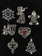 Lenox Sparkle Scroll Clear Crystal Silver Plated/gemmed Ornaments Set Of 7