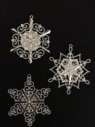 Lenox S/3 10k White Gold Plated Snowflake Ornaments W/crystal Embellishments