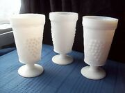 3 Anchor Hocking Milk Glass Vintage Grape Goblets Footed Parfait Tumblers_three