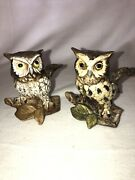 """Set Of 2 Vintage Homco And Norleans Porcelain Owl Figurines Marked 5"""" Tall 70s"""