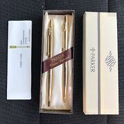 Parker Classic Imperial Set Gold Ballpoint Pen And 0.9 Pencil Set New In Box Usa