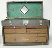 Rare 1930's Vintage Craftsman Tools 7 Drawer Cloth Wrapped Machinist Tool Box