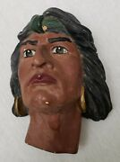 Antique Cigar Store Indian Plaque Trade Sign Chalkware Vintage Tobacco Wall Art