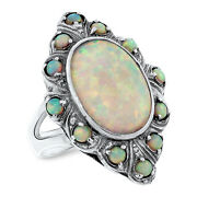 Antique Victorian Style .925 Sterling Silver Lab Opal Ring Size 8,     491