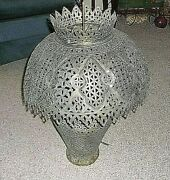 Antique Middle East Pierced Brass Moroccan Moorishtable Lamp 1900and039s 26 T 20 W