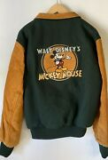 The Disney Channel Mickey Mouse 1990's Promo Lettermen Leather Jacket Size Lrg
