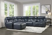 Navy Blue Faux Leather Reclining Sofa Chaise Sectional Living Room Furniture