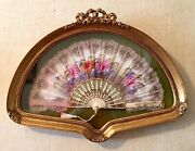 Antique Hand-painted Fan In Hand-carved Gilded Shadow Box Near Mint Condition