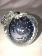 Controlled Bubble Apple Paper Weight 3.75andrdquo Tall Purple Center In Clear Unmarked