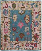 All-over Vegetable Dye Olympic Blue/pink Oushak Turkish Oriental Area Rug 8and039x10and039