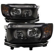 Headlights Set Halogen W/black Housing Clear Lens Fits 06-2008 Subaru Forester