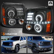 For 2002-2006 Cadillac Escalade Black Led Halo Projector Headlights Lamps L+r