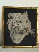 Completed White Tiger Cross Stitch Professionally Framed. Stunning Rare