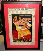 Antique Original 1930and039s Framed Mounted Biscuit Store St-denis Advertising Sign