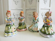 Set Of 4 Individual Sweet H.p Porcelain Little Girlstea Light Candle Holders