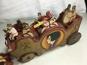 Antique Wood Circus Parade Bandwagon Pull Toy With 8 Musicians Driver 6 Horses