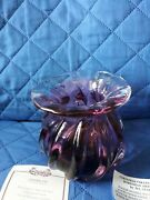 Bohemian Countess Collection Art Glass Vintage Purple Wave Design Signed C.o.a.