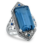 6 Ct Sim Aquamarine Opal Antique Style 925 Sterling Silver Ring Size 9   283