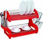 Home Basics Plastic 2tier Dish Drainer Rack Air Drying And Organizing Dishes