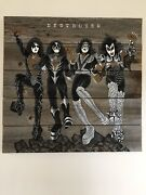 Kiss Band Original Pop Art Mixed Media Destroyer Aged Barn Wood Large Painting