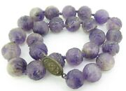 .19th C. Chinese Antique Carved Shou 15mm Amethyst Court Beads