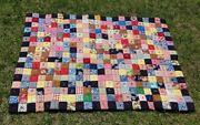 Vintage Handmade Quilt Multiicolor Squares Patchwork Handsewn Tied 74x54fabric