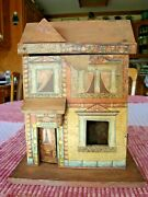 Antique R.bliss Wood Doll House Lithograph Paper 2 Story With Chair.