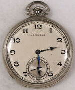 Hamilton 917 Pocket Watch 10 Size 17 J. Adj. 3p 14k Open-face - Working