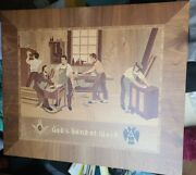 Vintage Germany Inlaid Wood Picture Free Mason Workers 22 X 19 Gods Work Art